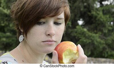 femme, pomme, grossesse