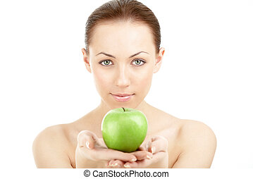 femme, pomme