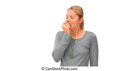 femme, pomme, manger, heureux