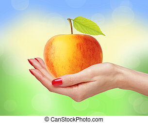 femme, pomme,  nature, grand, sur, jaune, main, clair, fond