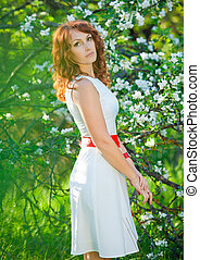 femme, pomme, printemps, blossom., jeune, jardin, romantique