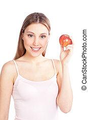 femme, pomme, tenue, heureux