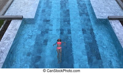 femme, pool., sain, sommet, jeune, rest., vue, natation