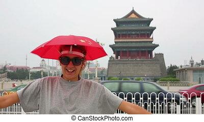 femme, porcelaine, touriste, beijing