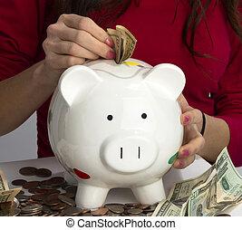 femme, porcin, espèces, américain, économies, monnaie, pièces, banque, remplit