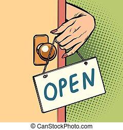 femme, porte, pend, signe main, ouvert