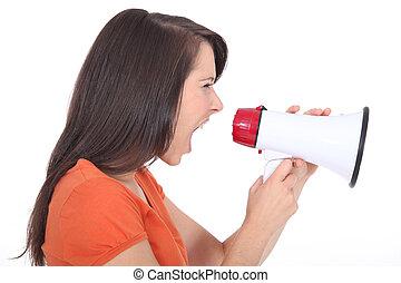 femme, porte voix, crier