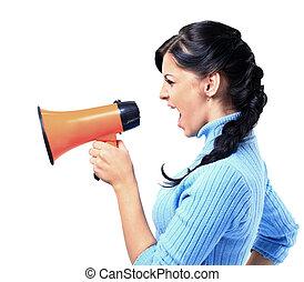 femme, porte voix, par, jeune, parler