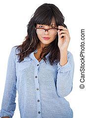 femme, porter, beau, lunettes