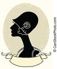 femme, portrait., noir, vecteur, vendange, silhouette, blanc