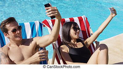 femme, portraits, prendre, soi, piscine, homme