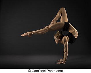 femme, pose, cirque, main postérieure, gymnastique, coude, ...
