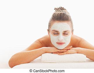 femme, pose, décontracté, masque, jeune, revitalisation, figure, table, masage
