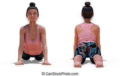 femme, pose, devant, poses, dos, cobra, yoga