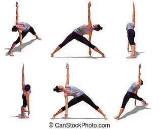 femme, pose yoga, angles, 6, triangle, vue