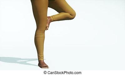 femme, pose yoga, arbre, haut, noir, plus, fin, taille