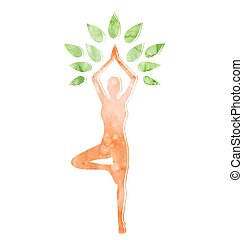 femme, pose yoga, arbre, isolé, blanc