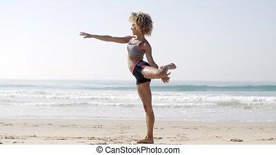 femme, pose, yoga, crise