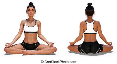 femme, pose yoga, dos, facile, devant, poses