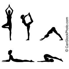 femme, pose yoga, isolé, ensemble, blanc
