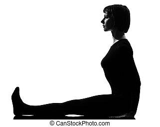 femme, pose, yoga, paschimottanasana