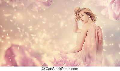 femme, poser, fantasme, rose, pivoine, beau