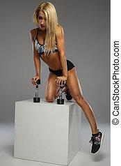 femme, poser, studio., blonds, fitness