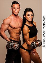 femme, poses, couple, -, homme, fitness, crise, studio