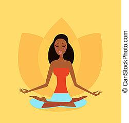 femme, position, yoga, fleur, lotus