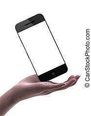 femme, possession main, intelligent, téléphone, à, vide, exposer
