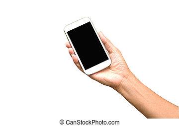 femme, possession main, intelligent, téléphone, isolé, blanc