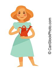 femme, pot, arrosage, isolé, tenue, blanc rouge