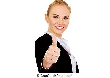 femme, pouce, business, haut, jeune, spectacles, heureux