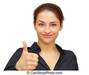 femme, pouce, business, projection, haut, isolé, sourire, signe, blanc