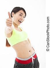 femme, pouce, elle, séance entraînement, haut, jeune