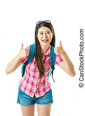 femme, pouce, exposition, haut, asiatique, heureux, touriste