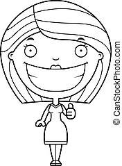 femme, pouces haut, dessin animé