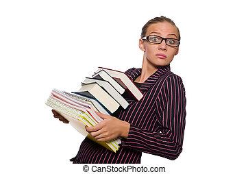femme, pourpre, jeune, livres, déguisement, tenue
