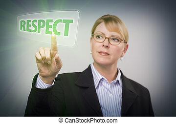 femme, poussée bouton, toucher, respect, écran, interactif