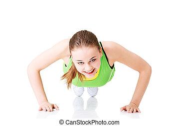 femme, poussée, fitness, augmente