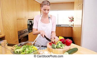 femme, préparer, salade