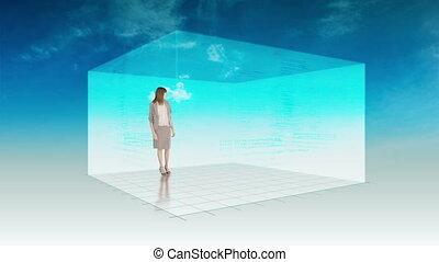 femme, présentation, animation