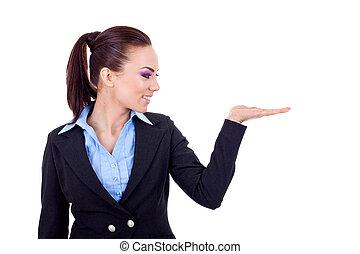 femme, présentation, business