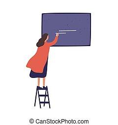 femme, présentation, femme debout, tableau noir, écrire, plat, craie, usage, escalier, créatif, vecteur, planche, dessin animé, whiting, annonce, projet, prêt, isolé, coloré, girl, white., illustration.