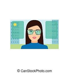 femme, prévision, temps, usure, lunettes, spectacles, augmented