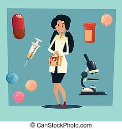 femme, praticien, docteur, monde médical, américain, course,...