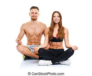 femme, pratiquer, athlétique, couple, -, homme yoga