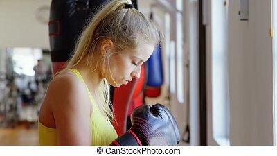 femme, pratiquer, boxe, boxeur, 4k