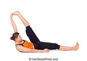 femme, pratiquer, grand, pose, reposer, yoga, orteil
