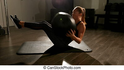 femme, pratiquer, torsade, exercice, athlète, 4k